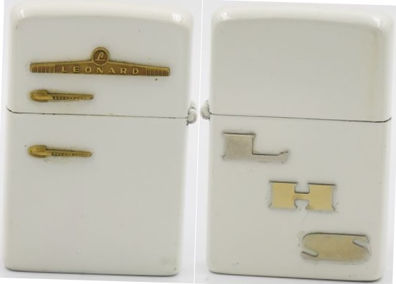 "1952-53 white enamel Leonard Refrigerator Zippo with letters ""LHS"" on reverse.  The ""Leonard"" Zippo is similar to but is considered rarer than the Kelvinator"