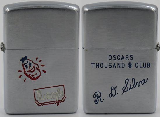 1953 Zippo for Lay's or Friito Lay's, a potato chip manufacturer since 1932.  The reverse is engraved with Oscar's Thousand $ Club and R.D. Silva