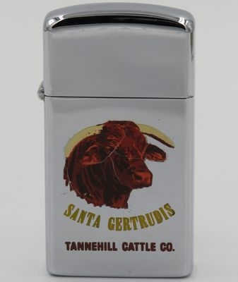 1966 slim T&C Zippo with the image of a Santa Gertrudis Bull.  It is advertising Tannehill Cattle Co. based in Monterrey California