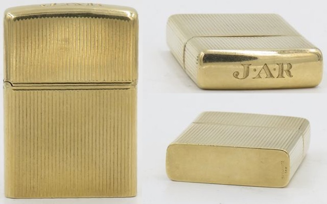 "This is a 14K gold Tiffany with  Zippo insert from the collection  of Franklin D Roosevelt and  Eleanor Roosevelt. The letters  ""JAR"" on the top are those of  FDR's son James"