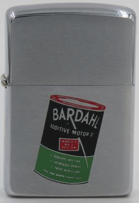 1965 Zippo with a Bardahl Oil Can. Bardahl is a brand of petroleum oil additives, lubricants and gasoline additives for motor vehicles and internal combustion engines made by Bardahl Manufacturing Corporation in Seattle, Washington