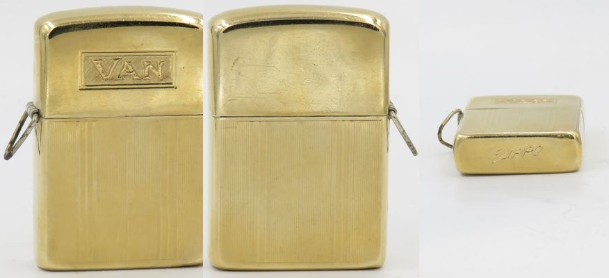 "This is a 14K gold loss-proof Zippo with the initial ""VAN"".  It is probably late 1960's, early 1970's vintage"