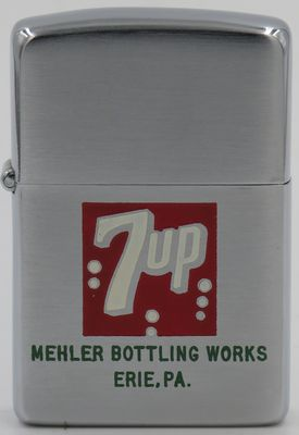1978 Zippo with 7-Up logo advertising Mehler Bottling Works, Erie, PA