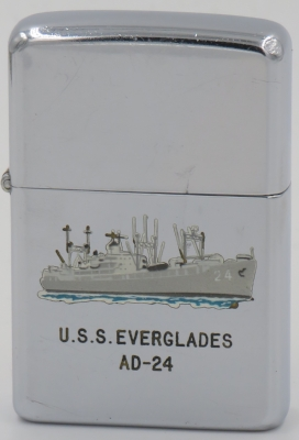 1957 T&C Zippo for the USS Everglades, a destroyer tender used to support, supply and repair vessels for the fleet