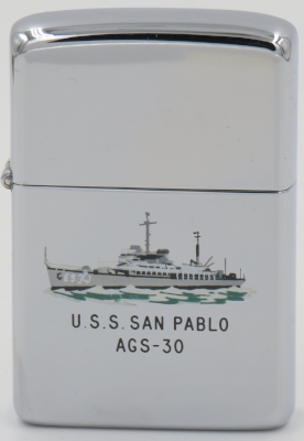 This 1960 T&C Zippo depicts USS San Pablo, a sea plane tender