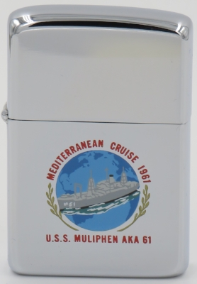 The USS Muliphen on this 1960 T&C Zippo was an attack cargo transport