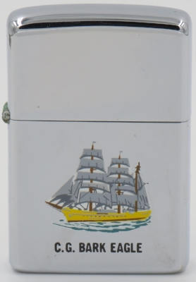 "1965 T&C Zippo depicting the US Coast Guard Cutter Bark Eagle, actually known as the ""Barque"" Eagle, is a 295-foot (90 m) barque used as a training cutter for future officers of the United States Coast Guard. She is the only active commissioned sailing vessel in U.S. military service"