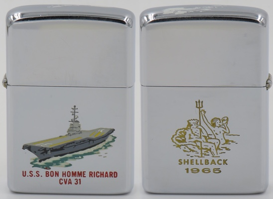 This is 1965 T&C Zippo for carrier USS Bon Homme Richard CVA 31. A Navy tradition is the Shellback initiation that takes place when a sailor crosses the equator for the first time. The ship becomes a pirate ship in the domain of King Neptune