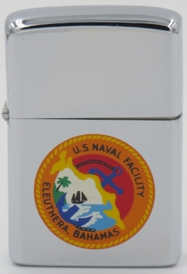 1973 Zippo with the emblem of the USS Naval Facility in Eleuthera Bahamas. The creation of the base dates back to 1950 when Western Electric was selected to build a demonstration SOSUS (Sound Surveillance System) for tracking Soviet submarines in the Atlantic.  The base was officially decommissioned on March 31, 1980 after the United States government was unable to secure favorable lease renewal terms fro the Bahamian government for the land on which the base is located.  The facilities and equipment left behind largely went to waste, rusting silently away as the years went by.