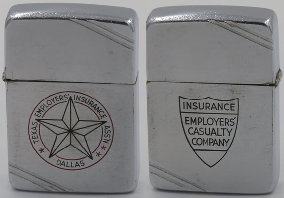 1938-39 Zippo with a line-drawn logo for the Texas Employers' Insurance Assn. in Dallas on the front and for the Employers Casualty Company on the reverse