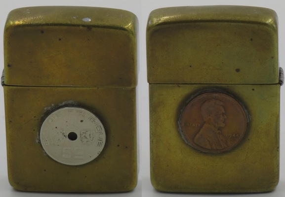 1942-45 trench art Zippo with brass finish, a US Penny coin dated 1944 on the front, a Belgian 5 centimes coin on the reverse