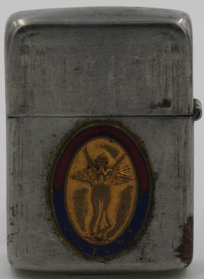1942-45 Zippo with an emblem with the image of the Godess of Victory attached