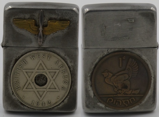 1943-45 Zippo with a British West Africa Half Penny coin dated 1944 and the logo of the Army Air Corps on the top, an Irish Penny attached on the reverse