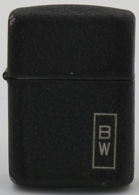 1942-45 black crackle Zippo with the initials BW.