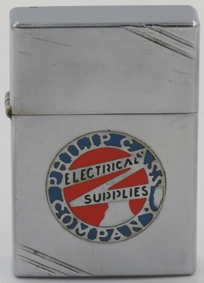 1936 Metallique Zippo advertising the Philip Cass Company, an electrical supplies company that was based in Philadelphia PA
