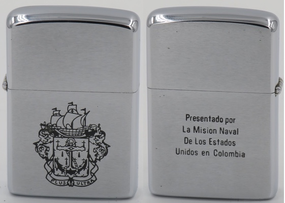 "1965 Zippo presented by the US Naval Mission in Colombia. ""Presentado por La Mision Naval De Los Estados Unidos en Colombia"""