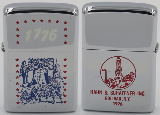 1975 Zippo with multiple patriotic images depicting the 1776 themes Liberty Bell, Independence Hall, Paul Revere and the Spirit of '76. The reverse is adverting the well drilling company Hahn & Schaffner Inc. of Bolivar, NY and is dated 1976