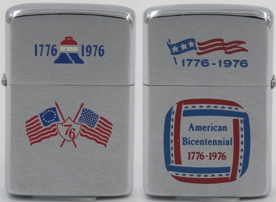 Two-sided 1975 Zippo with crossed 13 and 50 star flags and liberty bell commemorating the American Bicentennial 1776-1976