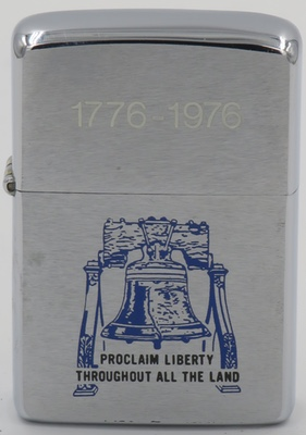 "1976 bicentennial Zippo with the Liberty Bell to ""Proclaim Liberty Throughout the Land"""
