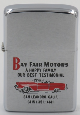 "1978 Zippo with the graphic of a red convertible for Bay Fair Motors of San Leandro, California ""A Happy Family Our Best Testimonial"""