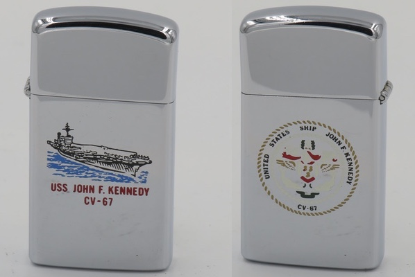 1978 slim Zippo for USS John F. Kennedy with the ship's emblem on the reverse