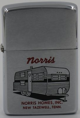 1964 Zippo with the graphic of a Norris home. Norris Homes Inc., named after Lake Norris near Tazewell, TN, has been producing mobile homes since 1965.