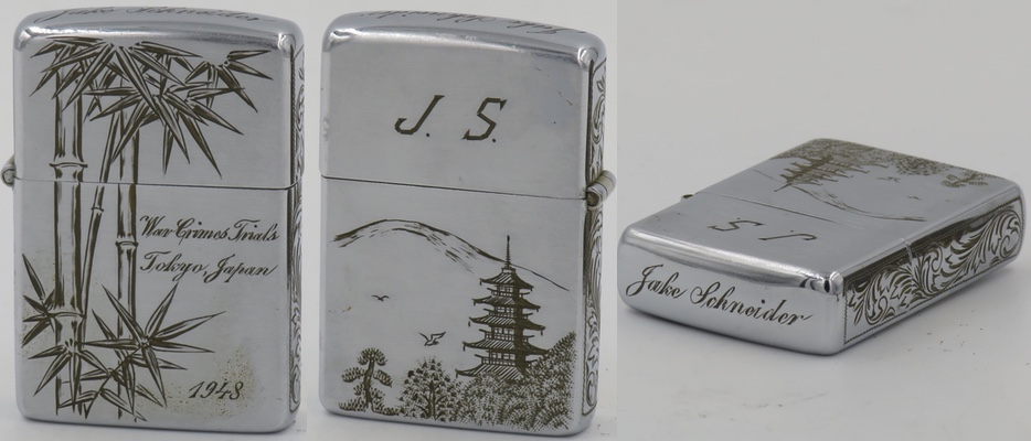 This beautiful 1948 Zippo commemorates the War Crimes Trials held in Tokyo from 1946 to 1948 in which General Tojo and other Japanese World War II leaders were convicted. The lighter was hand tooled in Japan for Jake Schneider