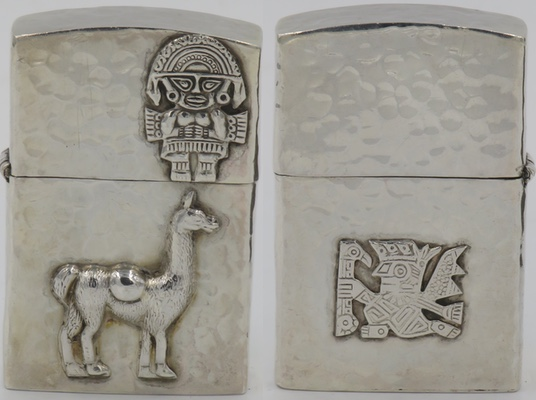 Hammered Sterling lighter made in Peru with the image of an Inti god and a llama on the front and a god on the reverse