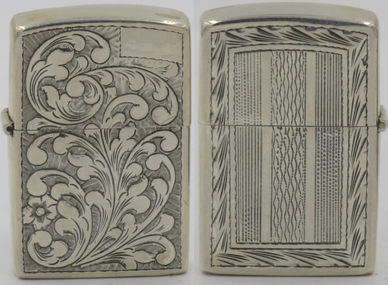 925 Sterling lighter made in Peru with Venetian design on the front and ornate design on the reverse