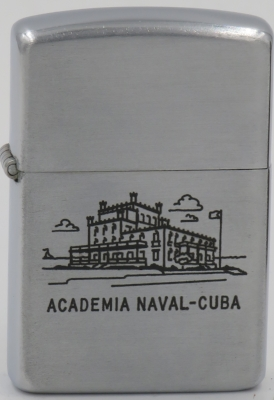 1953 Zippo with a line drawn graphic of Academia Naval, Loma Vigía, Mariel in Cuba.  Built in 1908, it became the Cuban naval academy in 1916.  Following the Fidel Castro's overthrow of the Battista government in 1959, the building was abandoned and is now in ruins