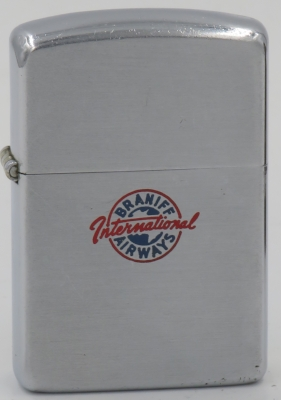 1954-55 Zippo for Braniff,  an American airline that operated from 1928 until 1982. Its routes were primarily in the midwestern and southwestern United States, Mexico, Central America, and South America