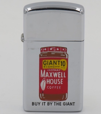1960 slim T&C Zippo with a graphic of a jar of Maxwell House coffee.
