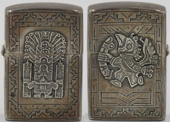 925 Sterling Silver lighter made in Peru carries the image of a staff god from the pre-Inca Chavin culture and a Condor-like god on the reverse