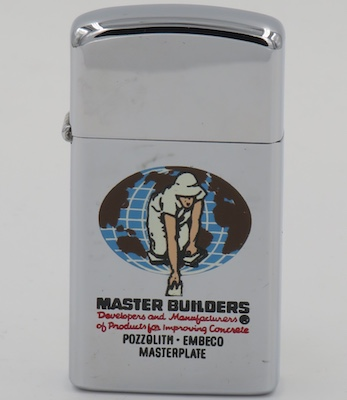 1964 T&C slim Zippo for Master Builders, a producer of concrete related products owned by BASF, a European chemical company and the largest chemical producer in the world.