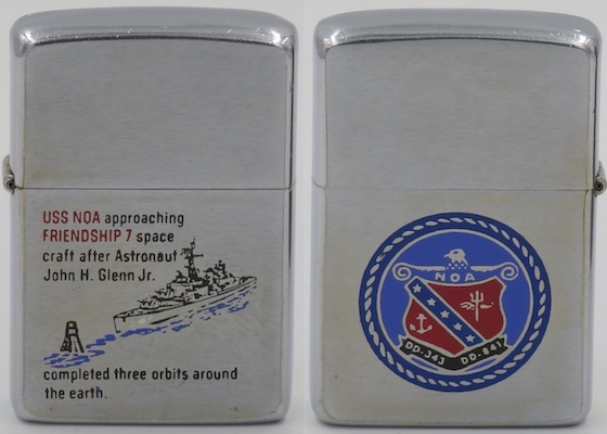 "This 1962 Zippo also commemorates the recovery of John Glenn's ""Friendship 7"" capsule by USS Noa after completion on the Mercury 3 mission which was the first US manned orbit of the Earth in February 1962"