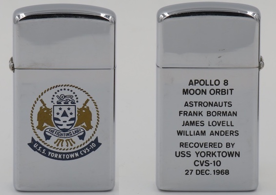 Apollo 8 was the first of the Apollo series to successfully orbit the moon, and the first manned spacecraft to leave Earth's gravity and reach the Moon.  This 1968 two-sided slim Zippo commemorates the recovery of astronauts Frank Borman, James Lovell and William Anders by USS Yorktown in December 1968