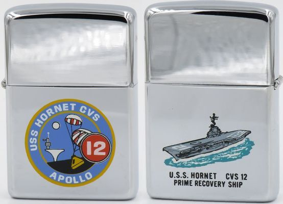 The USS Hornet recovered the Apollo 11 and Apollo 12 astronauts, the first men on the moon; in 1969, the year of this Town & Country Zippo