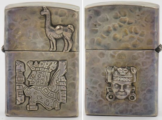 Sterling lighter made in Peru with a llama and Inca god on the front and the head of a god on the reverse