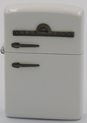 1953 Zippo Kelvinator refrigeratorin white enamel.  A rare and desirable lighter