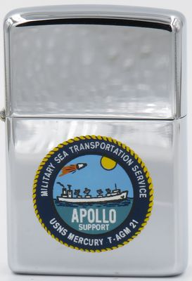 1967 T&C Zippo for USNS Mercury (T-AGM-21), an Apollo Instrumentation Ship/ . It performed tracking, telemetry and communication functions for Apollo lunar missions