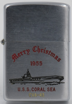 1955 Zippo for the USS Coral Sea, celebrating Christmas 1955