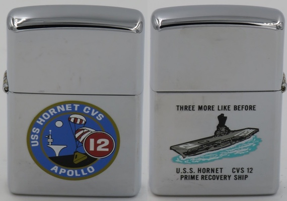 "This is a 2001 Zippo for USS Hornet CVS 12 Prime Recovery Ship.  The reverse has an image of the ship and the Apollo 12 slogan ""Three More Like Before."" While the images look very much like the process Town & Country  images on the 1969 version above, they are not since the T&C method was discontinued at the end of the 60's.  The value of this 2001 version value is a fraction of what the 1969 models are worth"
