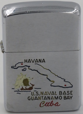 1961 Zippo with map of Cuba for US Naval Base in Guantanamo Bay. The Bay has been US territory since the end of the Spanish American war