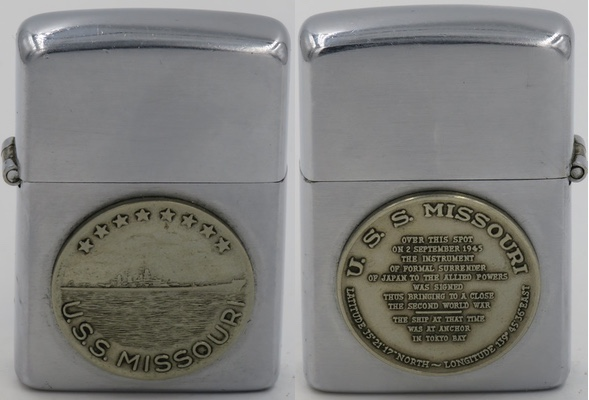 1946-49 USS Missouri Surrender Zippo with attached badges on both sides