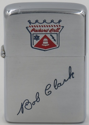"1953 Zippo with Packard Bell logo with Bob Clark's signature engraved. Packard Bell is a Dutch-based computer manufacturing subsidiary of Acer. The brand name originally belonged to an American radio set manufacturer, Packard Bell, founded by Herbert ""Herb"" A. Bell and Leon S. Packard in 1933"