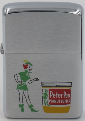 1963 Zippo for Peter Pan Peanut Butter with a graphic of Peter Pan. Peter Pan is a fictional character created by Scottish novelist and playwright J. M. Barrie. A free-spirited and mischievous young boy who can fly and never grows up