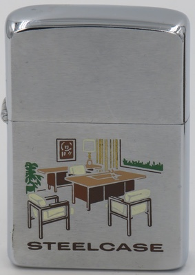 1962 Zippo advertising  Steelcase with a colorful engraving of office furniture