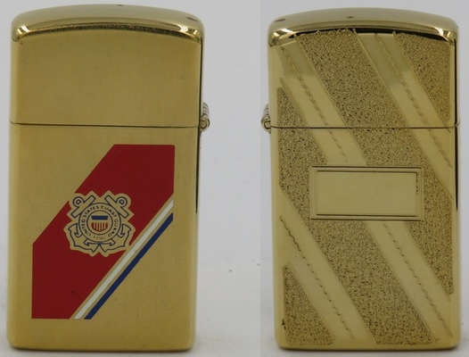 1978 gold-plated slim Zippo with the logo of the US Coast Guard.  The reverse has an engine turned pattern