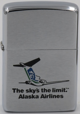 Alaska Airlines traces its roots to McGee Airways, which inaugurated service between Anchorage and Bristol Bay, Alaska in 1932. Today it also serves Canada and the Pacific Northwest. This Zippo is from 1977