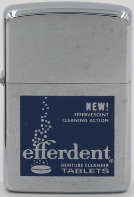 1967 Zippo advertising Efferdent Denture Cleanser Tablets.  Efferdent is a product of Pfizer, Inc., a leading producer of pharmaceuticals and other health related products